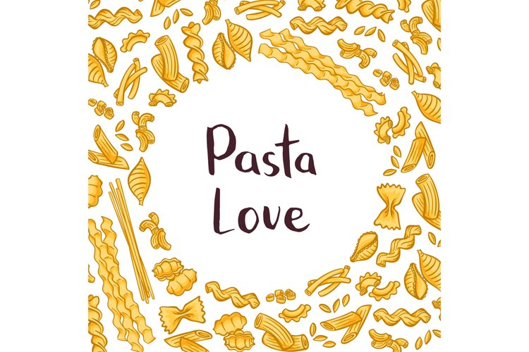 Vector pasta elements background illustration with plain spa example image 1