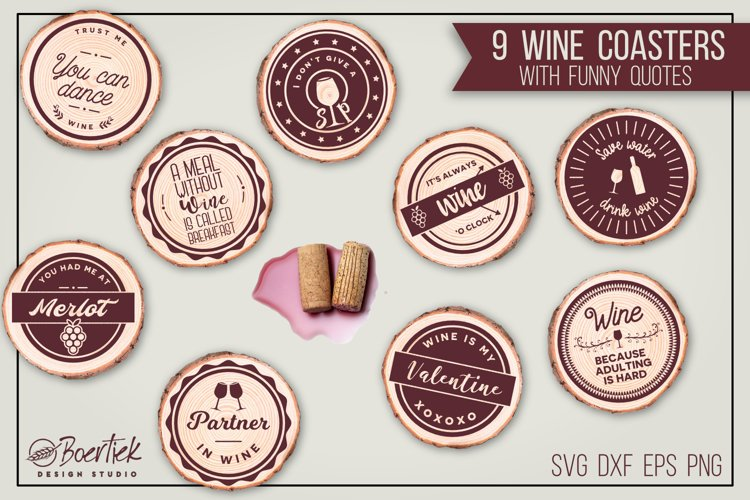 Wine coasters with funny quotes