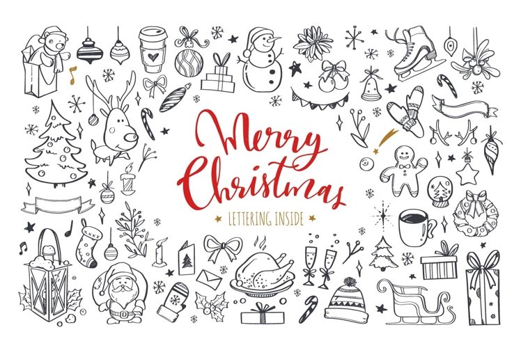Merry Christmas and New Year doodle and lettering collection example image 1