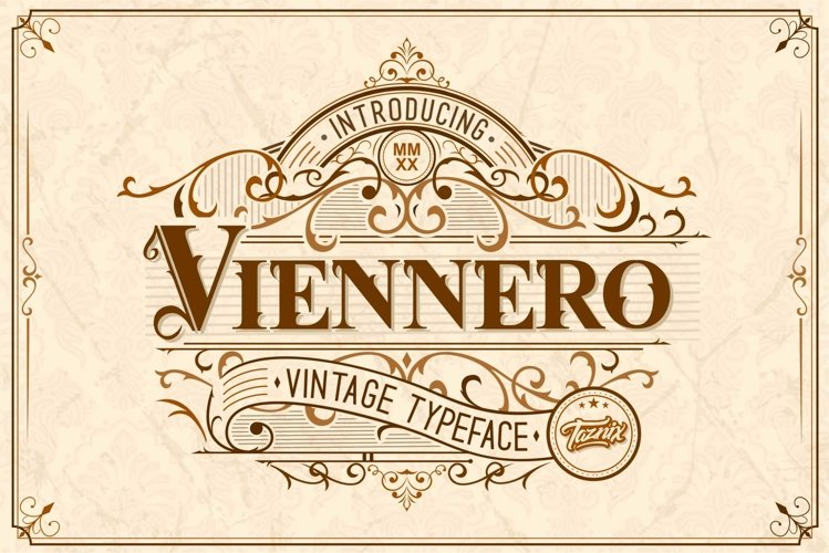 Viennero Vintage Typeface example image 1