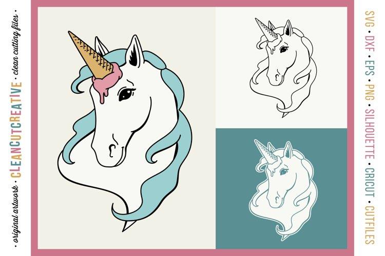 FUNNY UNICORN Ice Cream Horse - original cut file design SVG