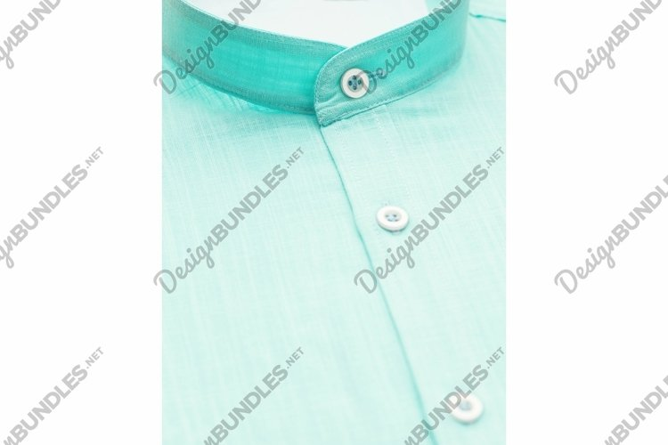 Green shirt with a focus on the collar and button, close example image 1