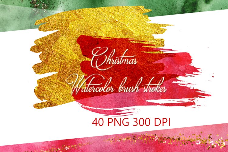 Christmas Watercolor Brushstrokes png,Abstract Christmas example image 1