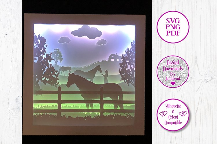 Horses and the Girl - 3D Paper Cut Template Light Box