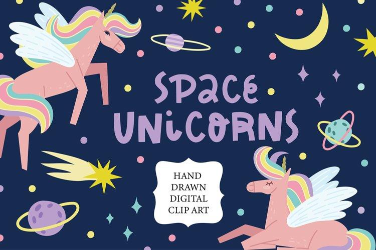 Space unicorn clipart sublimation design
