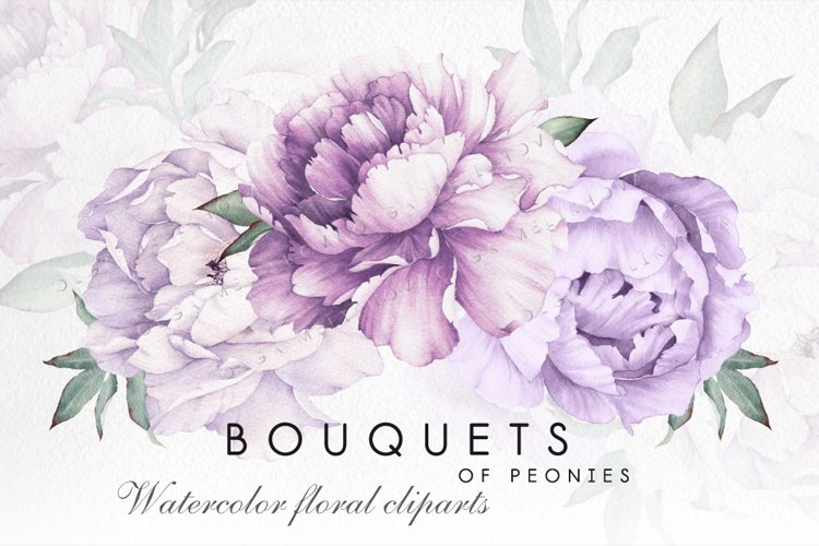 Watercolor flowers, bouquets of peonies example image 1