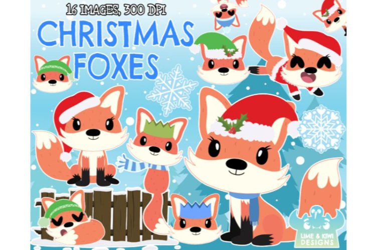Christmas Foxes Clipart - Lime and Kiwi Designs