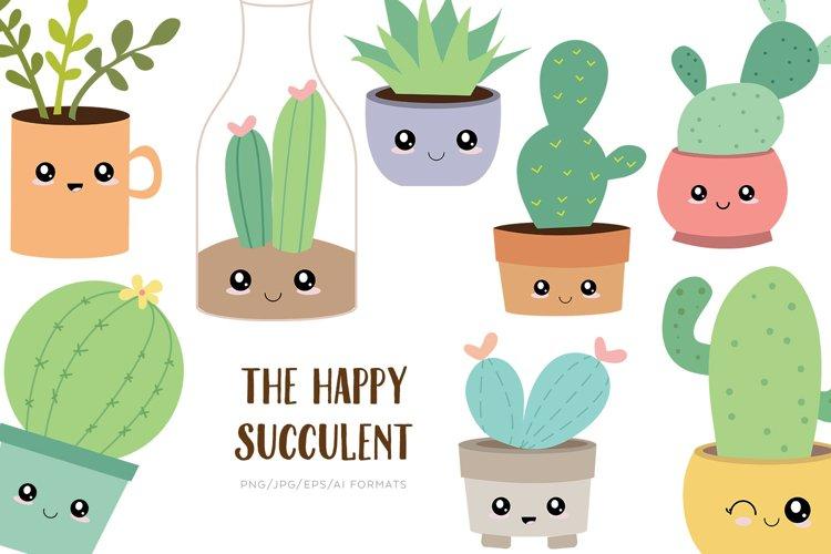 The Happy Succulent Vector Clipart