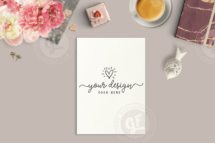 Styled Desktop Scene with A4 Print Mockup example image 1