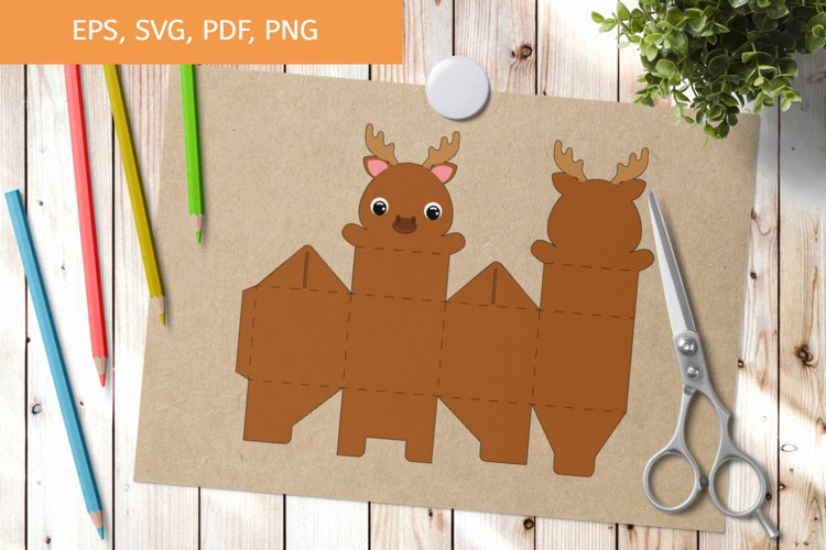 Cute Moose Gift Box Template SVG, Gift Box SVG example image 1