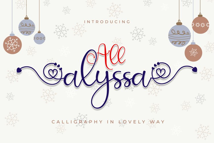 All Alyssa - Calligraphy Heart Accent Font example image 1