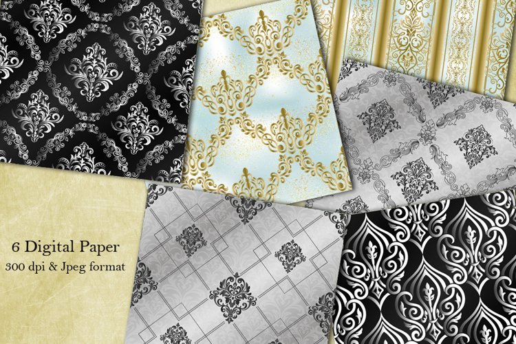 Collection of 6 seamless damask patterns. Digital Paper.