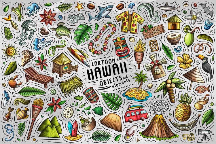 Hawaii Cartoon Objects Set