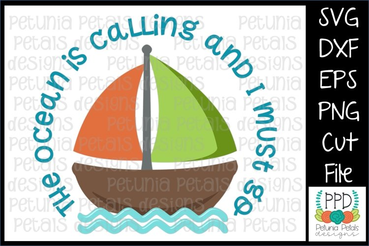 The Ocean is Calling Sailboat SVG 11273 example image 1