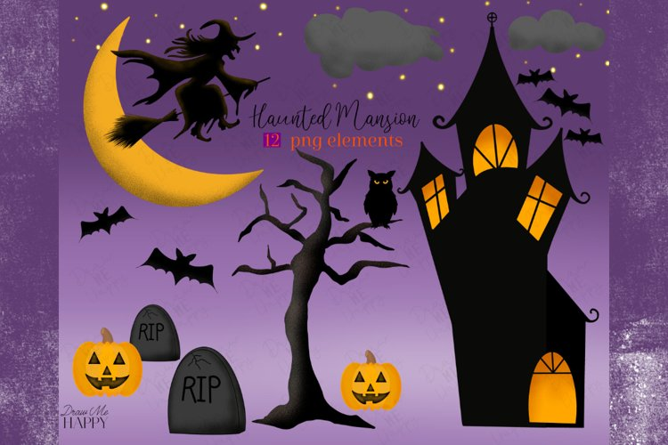 Haunted House Clipart, Halloween Clipart, Digital Papers,