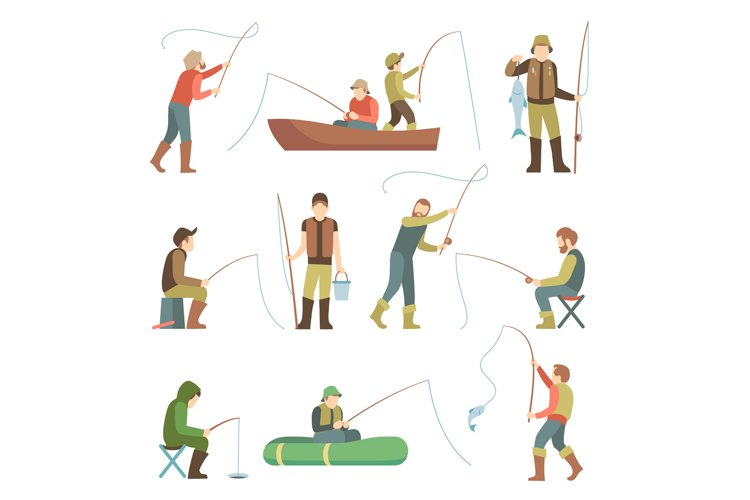 Fisherman flat icons. Fishing people with fish and equipment example image 1