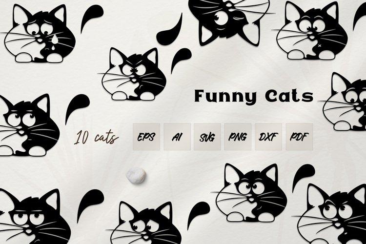 Funny Cats cut files. 10 CATS. Cats SVG