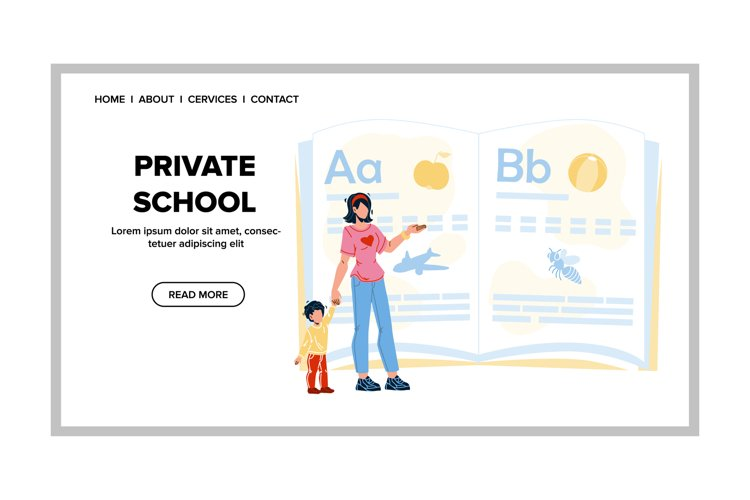 Private School Teacher Teaching Pupil Kid Vector example image 1