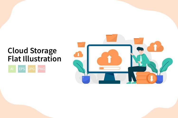 Cloud Storage Flat Vector Illustration example image 1