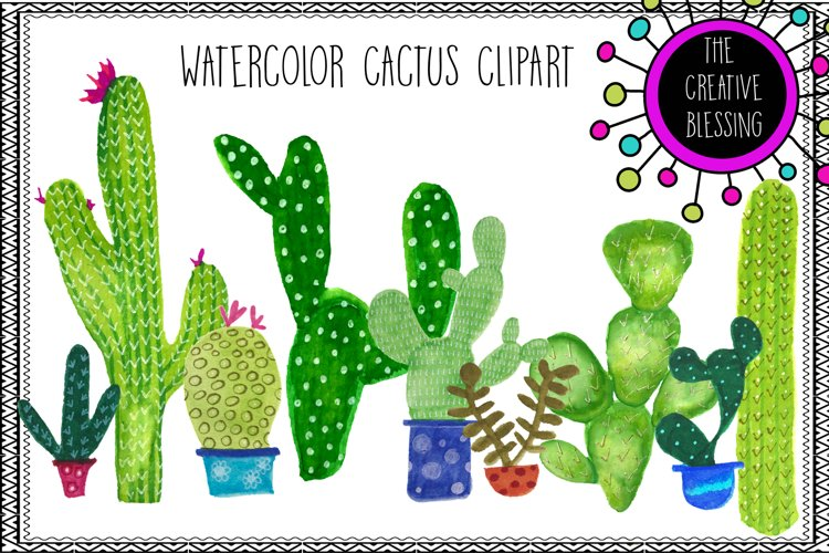 Hand Painted Watercolor Cactus Clipart