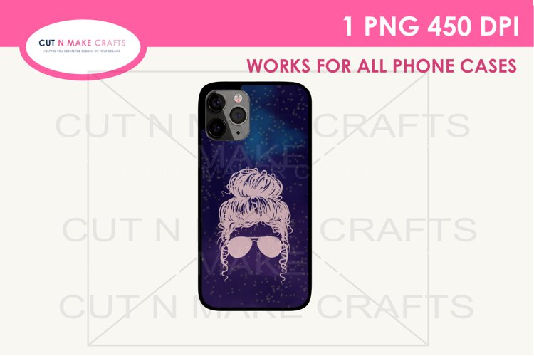Messy Bun Galaxy Sublimation Phone case Template example image 1