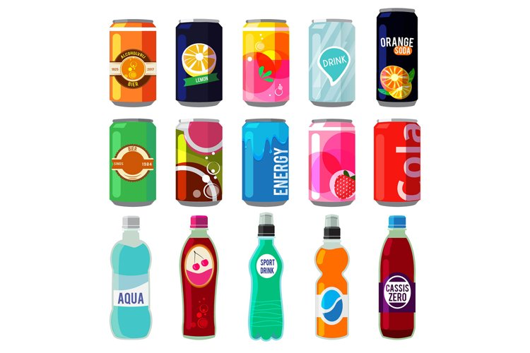 Illustration of different drinks in metallic cans and bottle example image 1