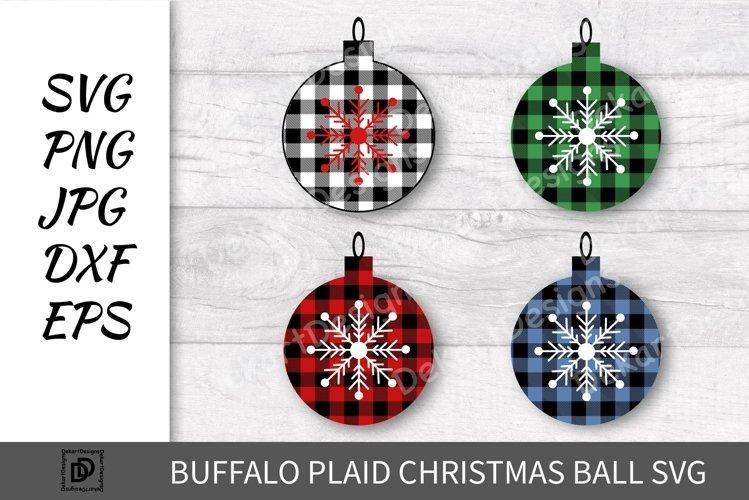 Buffalo Plaid Christmas ball SVG, Buffalo Plaid PNG DXF EPS example image 1