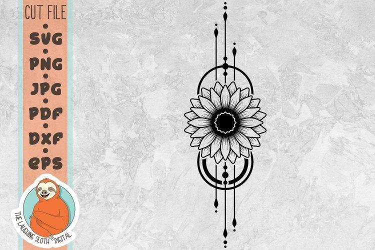 Sunflower Geometric SVG - Flower SVG - Boho SVG example image 1