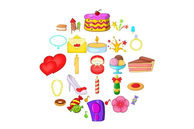 Venue icons set, cartoon style example image 1