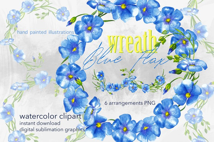 Watercolor blue flowers clipart Rustic flax plant frames PNG