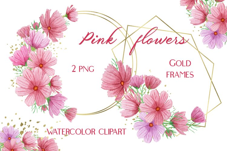 Gold Floral Frames Summer Pink Flowers Watercolor Clipart