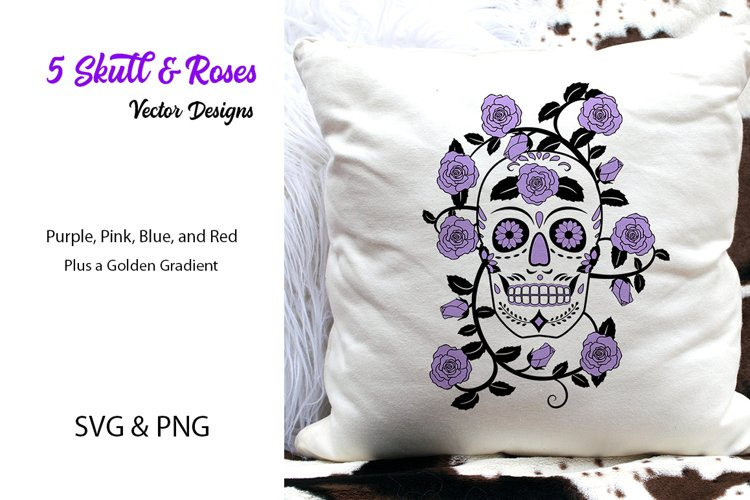 Skull & Roses Vector Designs- SVG & PNG example image 1