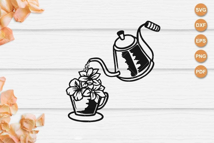 Floral Teapot and Teacup svg