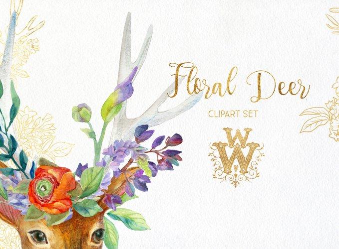 Watercolor floral deer printable clipart, golden graphics example 2