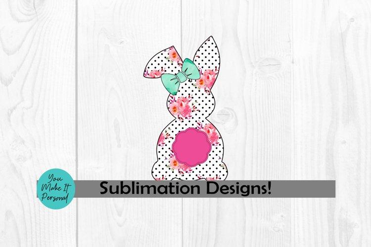Floral and Polka Dot Bunny with Monogram Frame