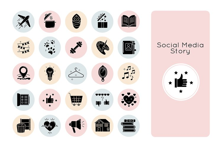 Social media story black glyph icons set on white space
