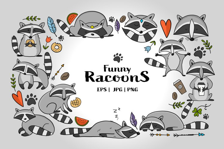 Racoons Family. Funny Characters. Icons set for your design