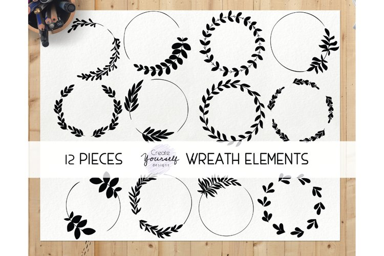 Hand drawn wreath clipart set - wreath graphics illustration example image 1