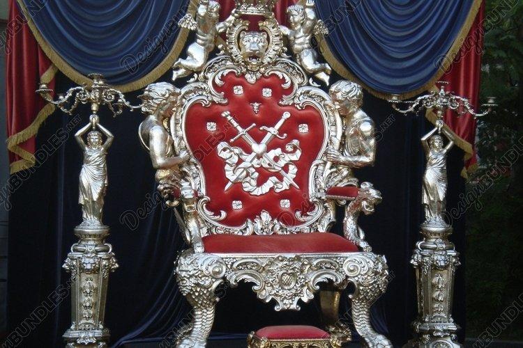 Velvet luxury throne on platform example image 1