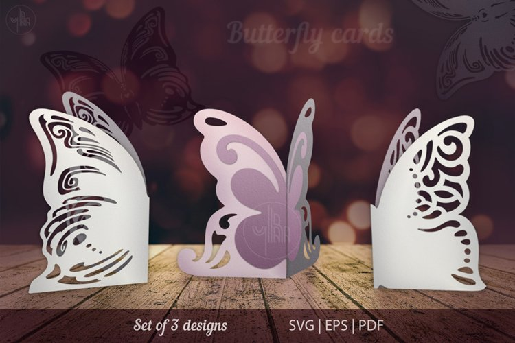 Butterfly papercut tempelate, SVG cutting files example image 1