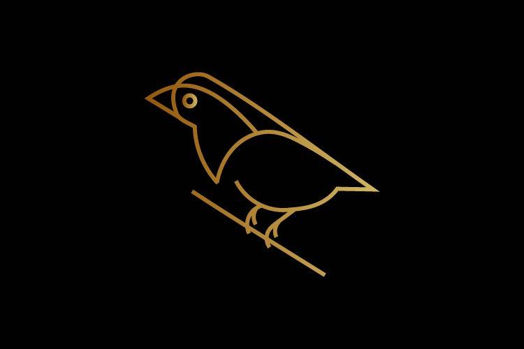 Bird minimalist logo gold color - Eps 10 example image 1