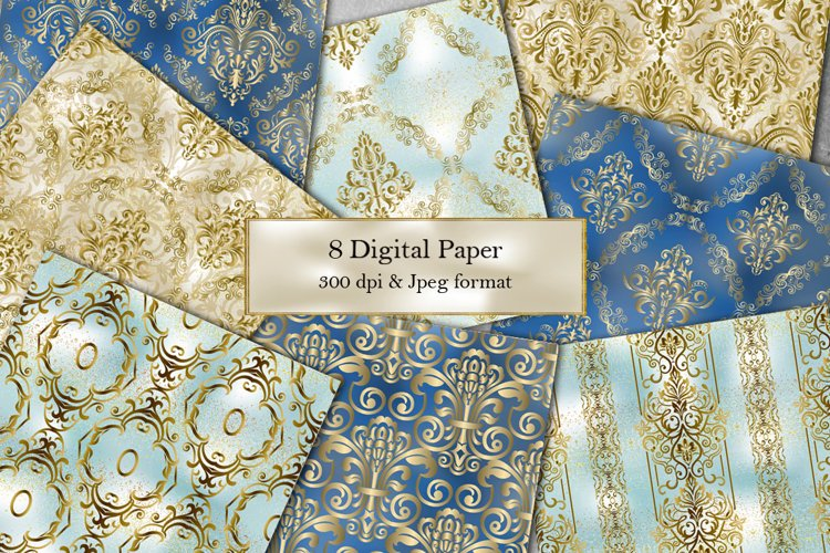 8 Seamless Damask Digital Papers. Collection of papers