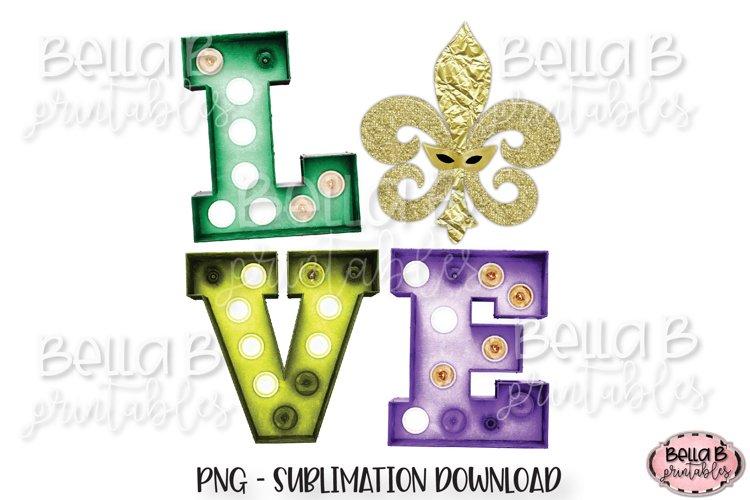Mardi Gras Sublimation Design, Love Marquee, Fleur de lis example image 1