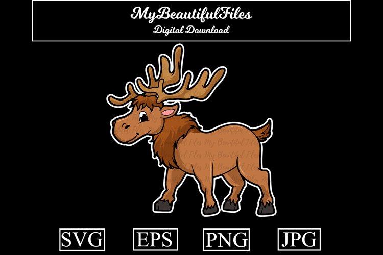 Elk SVG - Cartoon Animal SVG, EPS, PNG and JPG example image 1