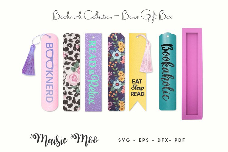 Bookmark SVG, Faux Leather Book Mark, Gift Box Page Keeper