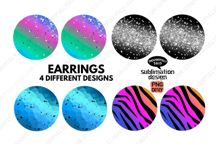 Round EARRING Sublimation PNGs Bundle, 4 Diagonal Designs
