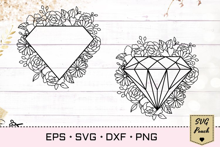 Diamond floral frame SVG example image 1