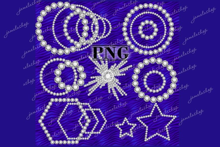 Diamond frame and borders clipart , Rhinestone overlay png example image 1