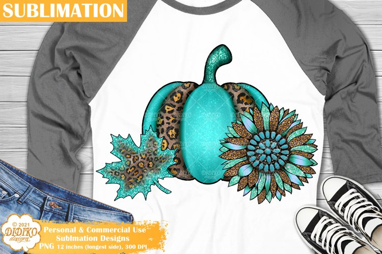 Fall Sublimation, Leopard Sunflower Pumpkin Png, Western Png example image 1