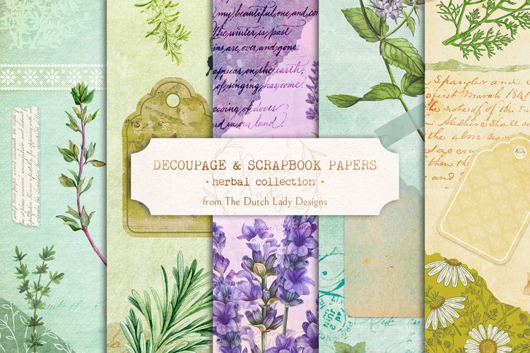 Digital Decoupage & Scrapbook Sheets - Herbal Collection 1